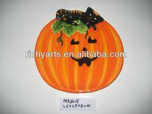 ceramic halloween decorative fruit plate pumpkin shape