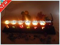 Customized wedding glass candleholder with wood base