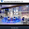 Romantic blue lights round shape led bar counter with corain top