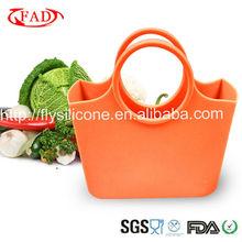 Orange Color Silicone Vegetable Shopping Handbag,FDA Standard