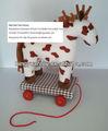 animal de pelúcia cavalo puxe brinquedos de madeira com rodas
