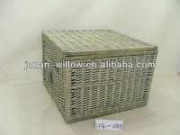 large wicker storage basket with lid
