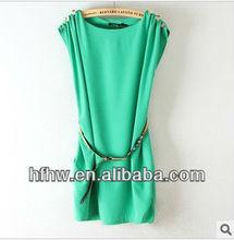 Sleeveless shoulder three buckles lanterns swing dress with belt