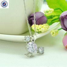 zircon round stone necklace clock shape necklace purple in rhodium plated