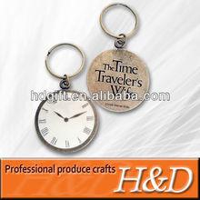 clock pattern metal alphabet keychain wholesale