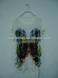 old lady polyester knit butterfly printing t shirt