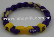 Triple Braid Titanium Germanium Ionic Basketball Team Bracelet Lakers