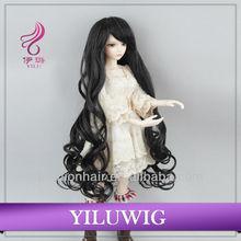 Top quality body wave Long Black BJD girl doll wigs