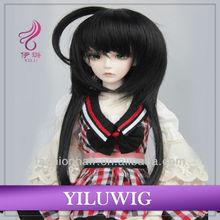 Top quality Straight Long Black BJD girl doll wigs