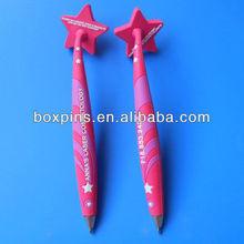 promotional pink pvc magnet pen witn company logo embossed