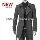 HOT Men's Wool Coat Winter Trench Coat Outear Overcoat Long Jacket Black Gray