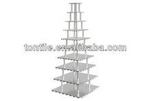 Tontile quadrados do bolo de casamento stand- 10 tier 4 sn4411 pilares
