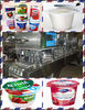 creamy yogurt in plastic cup with foil film filling and sealing packing machine