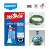 Hard material glue; two component liquid adhesivo;