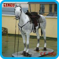 Fiberglass horse statue on outdoor garden