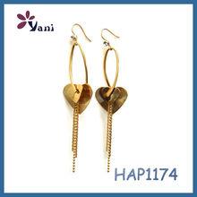Nepal 18K gold plated earrings wholesale jewelry fashion Heart shaped elegant tassel design gold huggie earrings