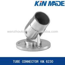 Adjustable wall mounted railing tube connector
