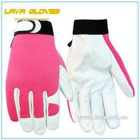 Ladies Pink Pigskin Leather Gardening Gloves