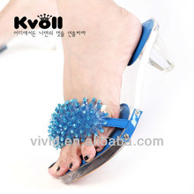 2013 New pierced open toe high heel slippers with transparent wristband beaded ornamental design