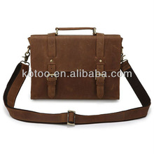 Genuine cowhide leather briefcase with strap for men