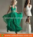 backless halter frisado chiffon verde longos vestidos de baile