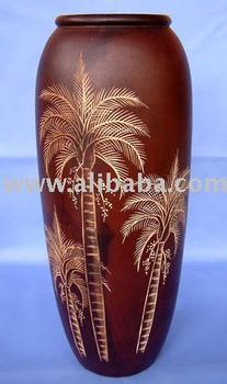 High Quality Teak Wood Carved Wooden Vase