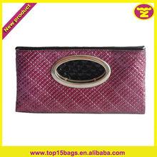 Folded Design Fashion Grid Leather Women Clutch Handbag Purse White Metal Handle Hardware Magnetic Snap Closure Clutch Bag