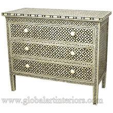 Designer Bone Inlay Chest / Cabinet