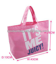 Promotion cotton canvas shopping tote bag pink color