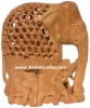 Hand Carved Wooden Elephant Family India Artifacts Arts Gift Home Decor