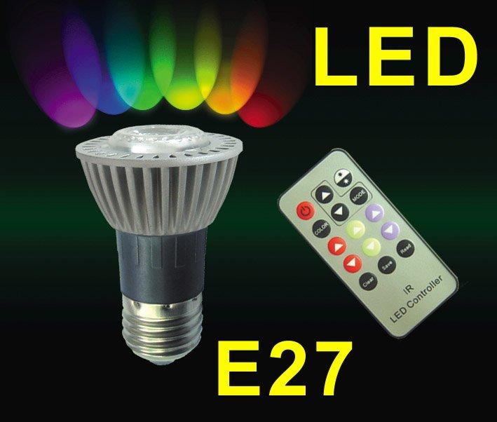 rgb e27 par16 led lamps e27 rgb led with ir remote control. Black Bedroom Furniture Sets. Home Design Ideas