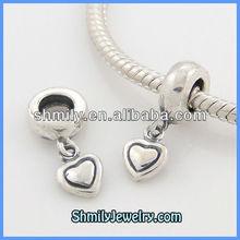 Wholesale Hot Antique 925 Sterling Silver Heart Pendant Dangle Beads DAS01