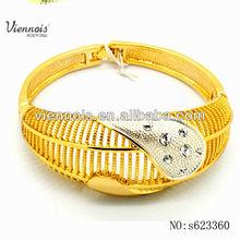 Fancy costume jewelry alloy bangle gold plated bracelet