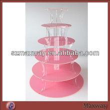 6 Tier Pink Acrylic Wedding Cupcake Stand, Cupcake Display Holder