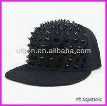 Men Women Punk Rock Hip Hop Hats Black Spiked Stud Hats