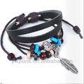 multi circoli nazionali marrone braccialetto perlinedilegno ala affascinato annodate rosario braccialetto in vera pelle braccialetto di fiori per le ragazze