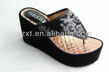 Fashion Black sequins women model sandal wedge 9.5 cm high heel wedge ladies sandals sexy thong slide sandal