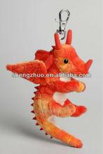 Wholesale Custom Plush soft kids red dragon keyrings for promotion