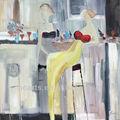 novo design artesanal resumo bar mulher pintura a óleo