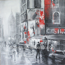 Hand drawing impressionist world famous architecture painting, High Street oil painting for sale