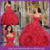 Red Sweetheart Applique Handmade Big Flower Skirt Ruffle Organza Princess Style Ball Gown Dresses With A Jacket