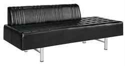 durable black leather long waiting sofa/salon waiting chair