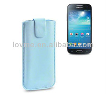 Baby Blue PU Leather Pocket Case for Samsung Galaxy S4 Mini i9190