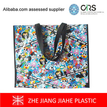 Famous Brand japanese cartoon one piece pp woven shiny promotional storage box shopping bags