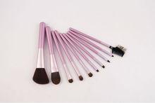 pink 10 pieces makeup powder/foundation/eye/lip brush set