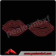 Jewlery red mouth rhinestone trimming hotfix motif design
