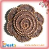 SF0204 Handmade brown chain wholesale zipper flowers for shoes