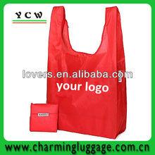 Foldable zipper tote bag/Nylon foldable shopping bag
