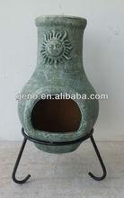 2014 Terracotta Chiminea with antique Sun Face Design for Clay Chiminea Sale