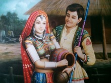 painting of Rajasthani couple